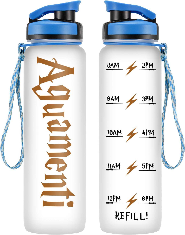 LEADO 32oz 1Liter Motivational Water Bottle w/Time Marker - Aguamenti, HP Merchandise - Funny Potterhead Birthday, Christmas Gifts for Women, Men, Friends, Mom, Dad, Wife, Husband - Drink More Water