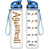LEADO 32oz 1Liter Motivational Water Bottle w/Time Marker - Aguamenti, HP Merchandise - Funny Fathers Day Gifts, Dad Gifts, Gifts for Men - Funny Potterhead Gifts for Women Friends, Mom, Wife, Husband