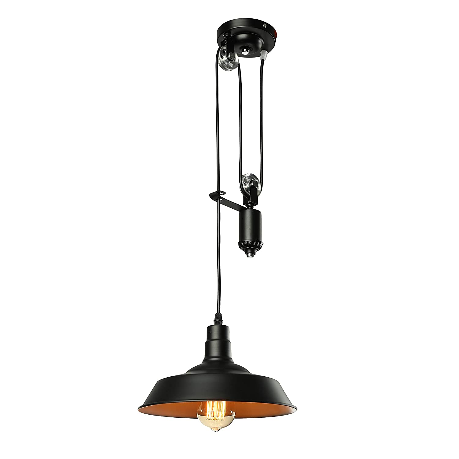 Jinguo lighting bright adjustable pulley light fixture pendant lights hanging lamp chandelier with metal shade in vintage industrial style for indoor