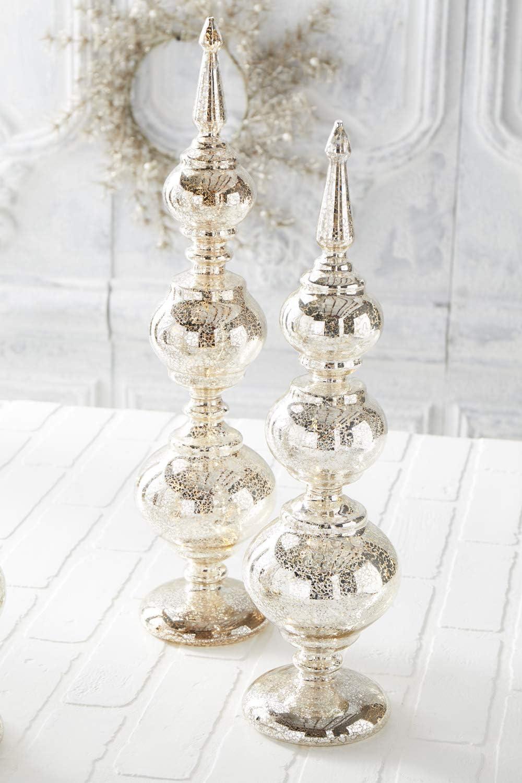 K/&K Interiors 53268A Set of 3 Mercury Glass Table Top Finials W//Led Lights