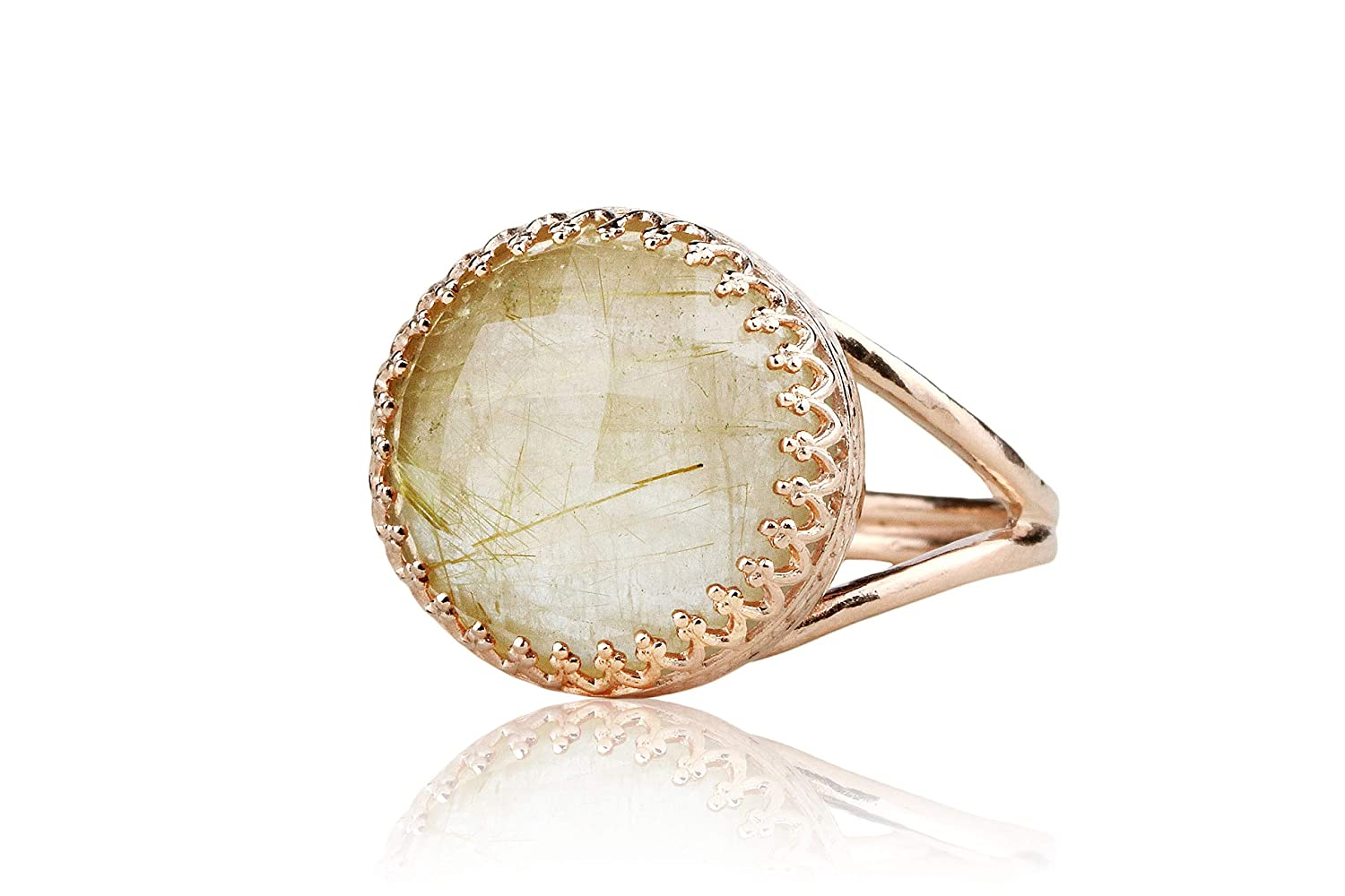 Bridal Anemone Jewelry Timeless Rutilated Quartz Ring Handmade Jewelry for Women Mom Ring Free Gift Box Anniversary BFF Birthday 14K Rose Gold-filled Double Band