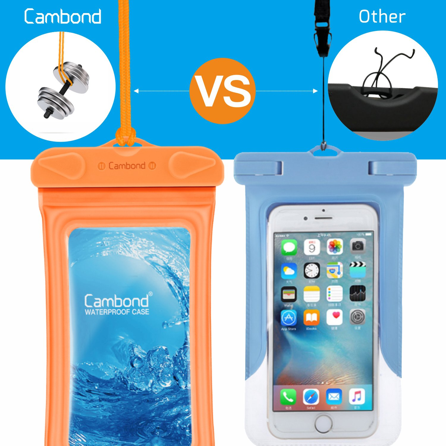 Cambond Waterproof Phone Pouch, Anti-break Lanyard, IPX8, Clear TPU, Fit for iPhone X/8/8P/7/7P, Samsung Galaxy S9/S8/S8P/Note 8, Google Pixel/HTC/LG, Up to 6.0'', Cruise Ship Kayak Accessories, 4 Pack by Cambond (Image #3)