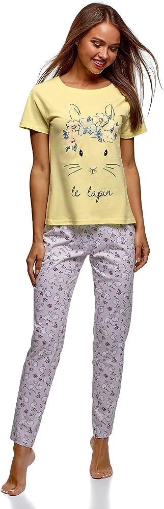 oodji Ultra Mujer Pijama de Algodón con Pantalones, Amarillo, ES 36 / XS: Amazon.es: Ropa y accesorios