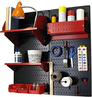 product image for Wall Control 30-CC-200 BR Hobby Craft Pegboard Organizer Storage Kit with Black Pegboard and Red Accessories