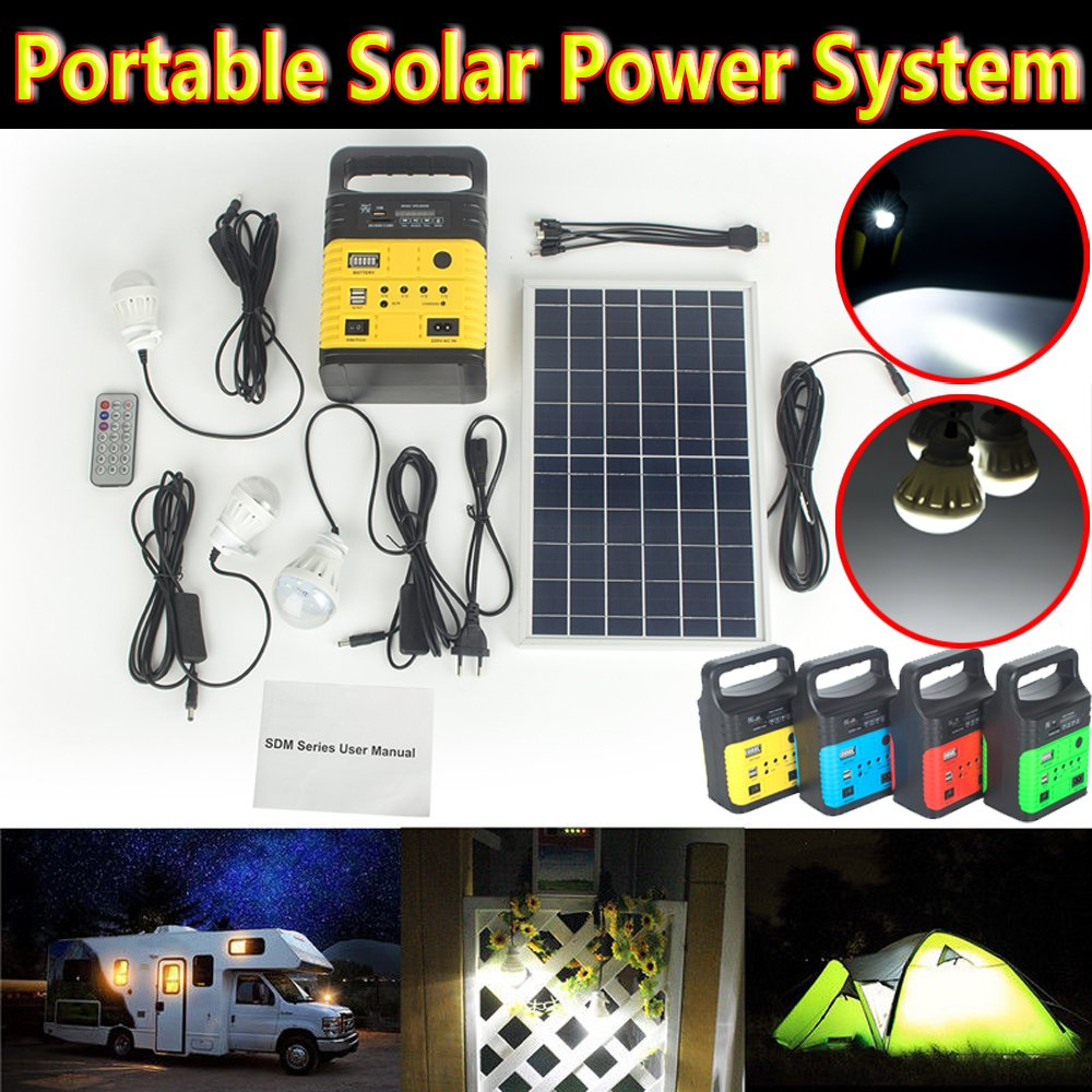 DODOING Solar Power Generator Portable kit, Solar Generator System for Home Garden Outdoor Camping, Power Mini DC6W Solar Panel 6V-9Ah Lead-acid Battery Charging LED Light USB Charger System by DODOING