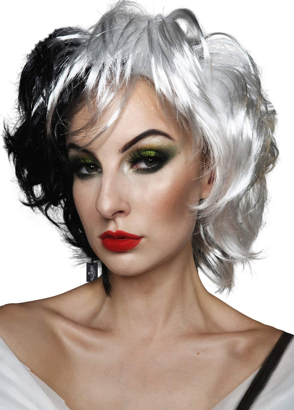 Wig Cap Included Cruella De Vil Costume Wig Fits Adult /& Child Short Black White Wigs for Cosplay Halloween