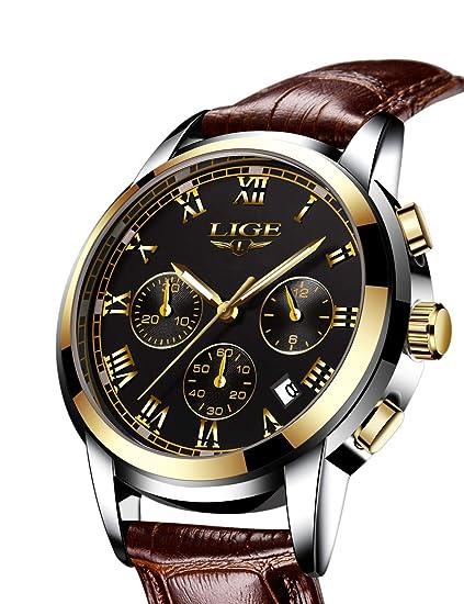 LIGE - Reloj de Pulsera para Hombre, Esfera Negra, Impermeable, 30 m, Correa marrón, Estilo Casual, Deportivo para Hombre: Amazon.es: Relojes