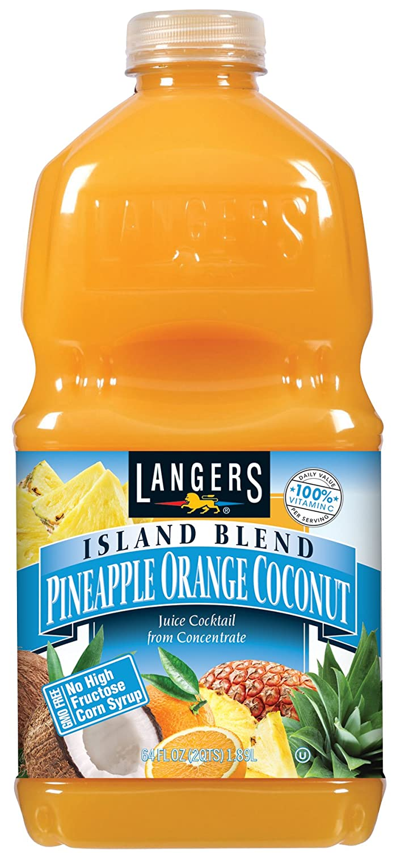 Langers Island Blend Juice Cocktail, Pineapple Orange Coconut, 64 Fluid Ounce (Pack Of 8)
