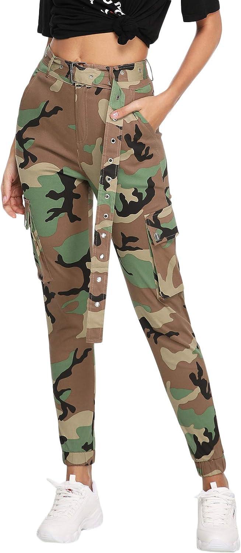 Floerns Women's Pockets Outdoor Jogger Pants Camo Cargo Pants