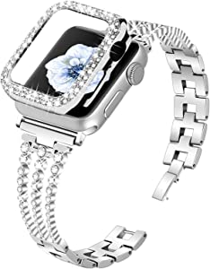 Joyozy Compatible With Apple Watch Band 40mm,Bling Dressy Jewelry Stainless Steel Band & Protective Crystal Diamond Case for Iwatch Series 6/SE/5/4 (Sliver, 40MM)