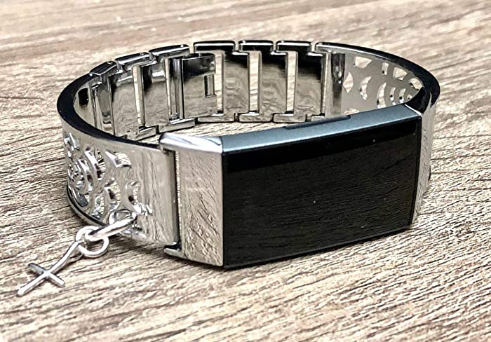 Amazon com: Silver Metal Band For Fitbit Charge 3 Handmade Floral