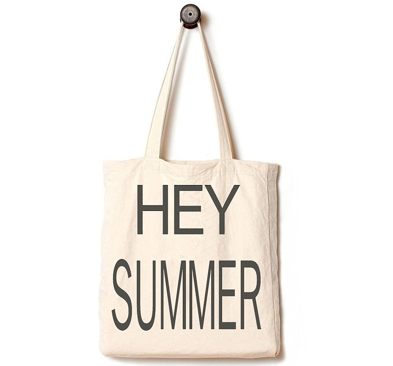 Andes Heavy Duty Canvas Square Bottom Tote Bag, Handmade from Organic 12 Ounce Cotton, Best for Shopping, Laptop, School books, Library, Machine Washable and Reusable, Hey Summer by Andes B0107C5E6U Hello Summer Hello Summer