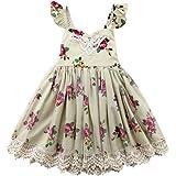 380db37e655e2 WangsCanis 1-6 Ans Bébé Fille Robe Princesse Florale en Tulle sans Manche  pour Anniversaire