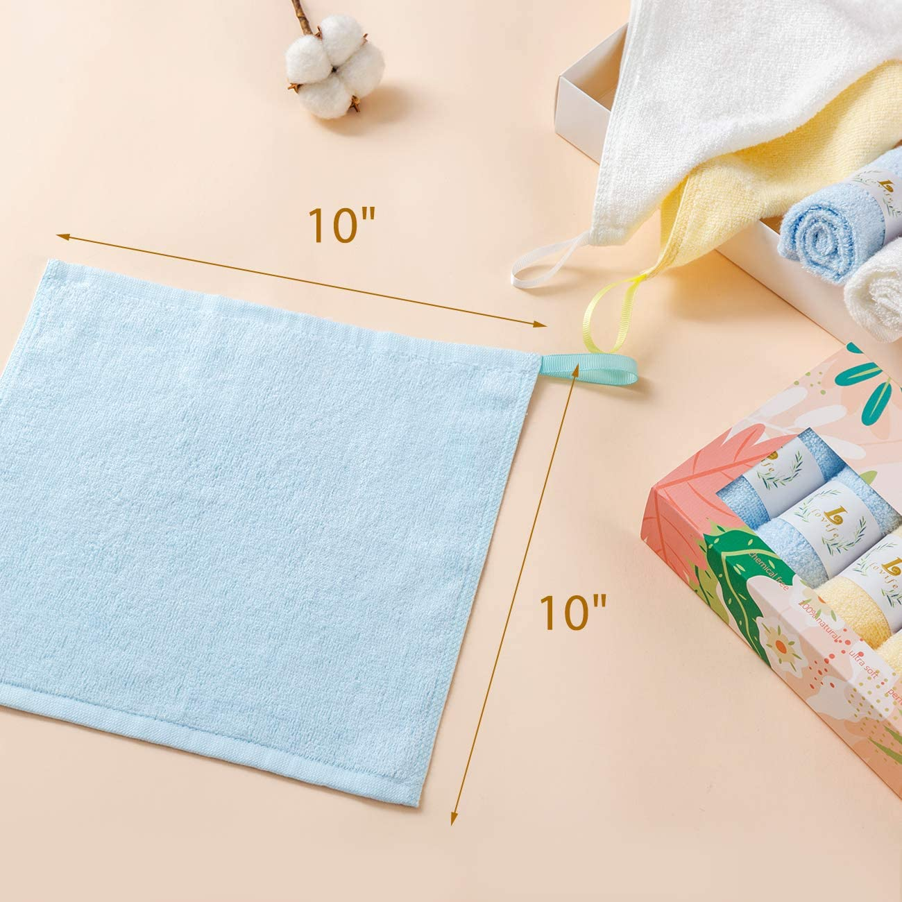 Lovife Bamboo Washclothes for Face Towel Soft Makeup Remover Towels Set Bathroom Gentle on Sensitive Skin 6 Pcs 10 x 10 Inch