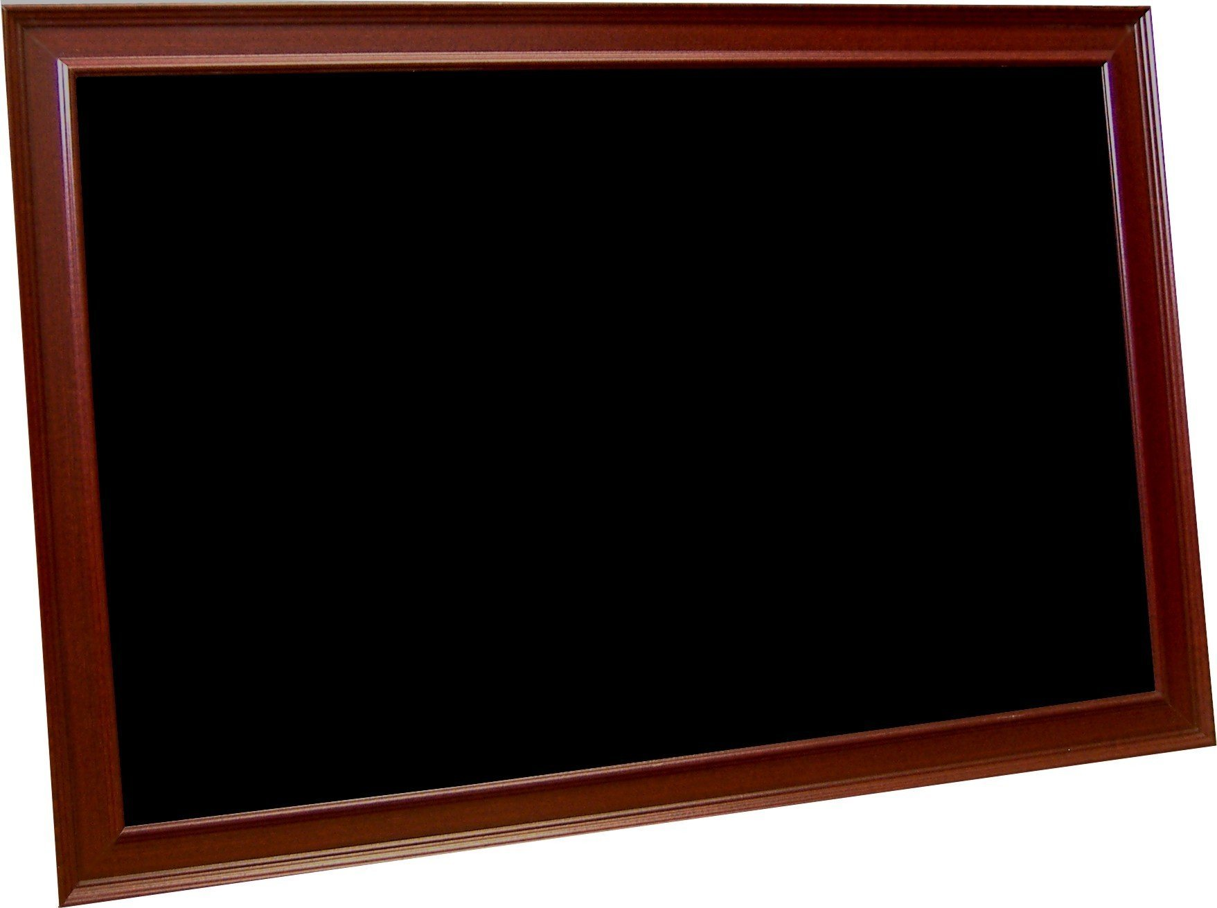 billyBoards 36X60 chalkboard. Red mahogany frame finish. 12 inch self stick chalk tray included. Wood composite writing panel- black. 2 inch wide MDF frame.