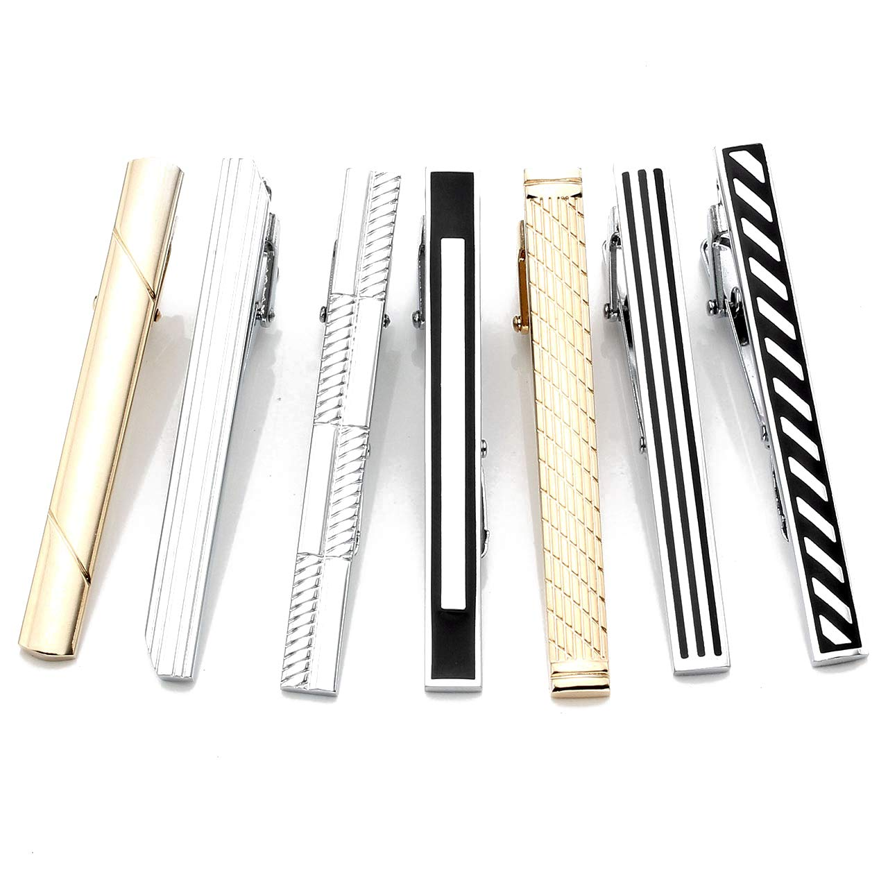 Zysta 7PCS Fashion Gold Silver Black Tie Clips Men Stainless Steel Formal Dress Necktie Bar Clasps Set