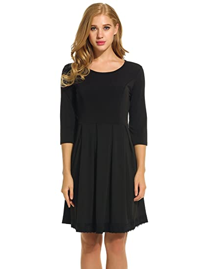 e14618982f Women O-Neck 3 4 Sleeve Lace Trim Slim Cocktail Party Pleated Dress ...
