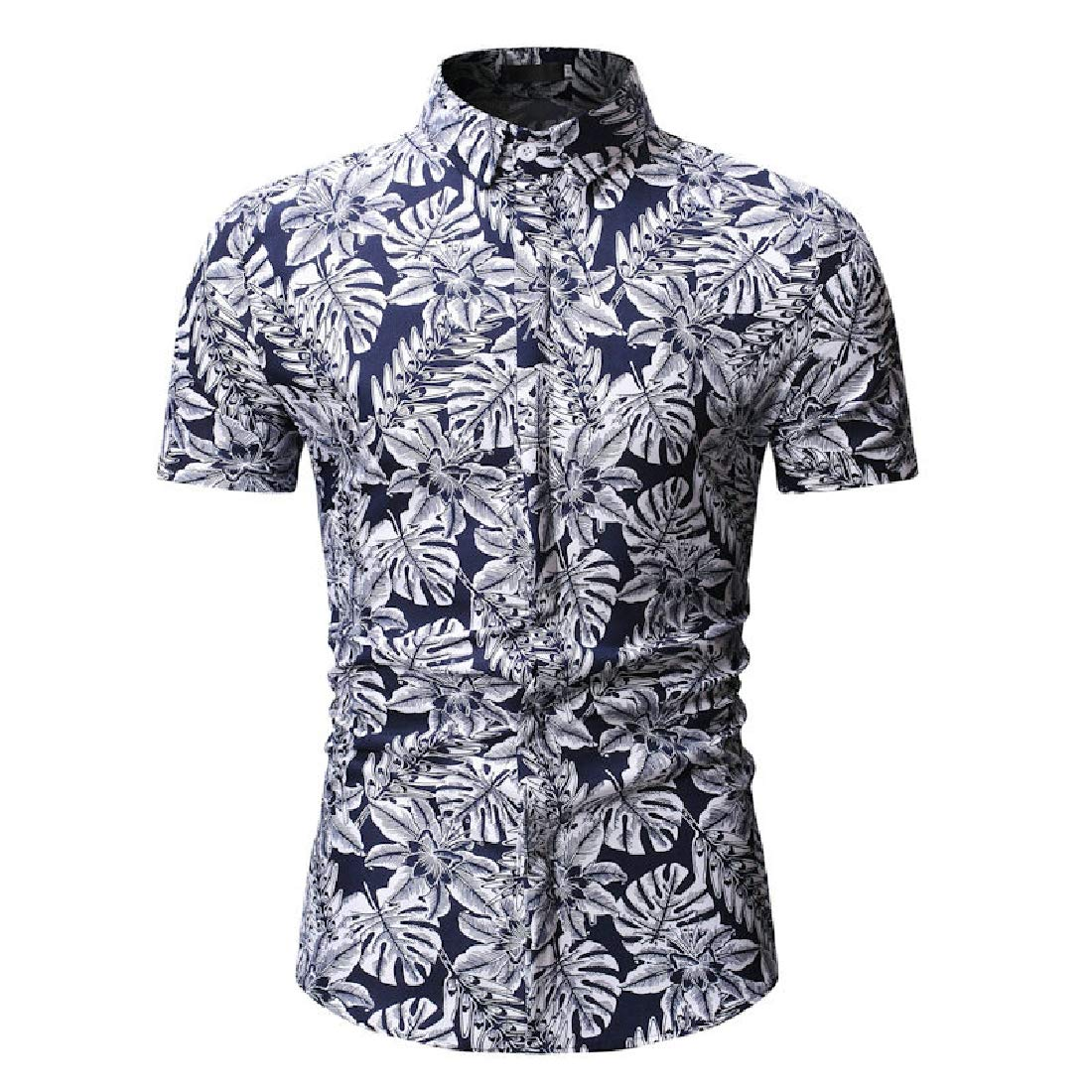 Domple Mens Short Sleeve Casual Printed Button Down Plus Size Shirts