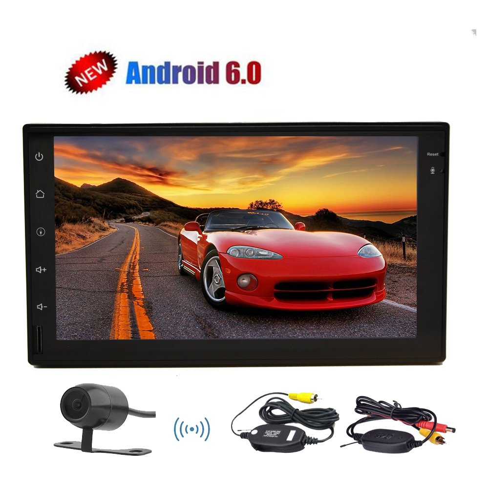 Wireless Backup Camera included 7 Inch Quad-core Car Stereo Autoradio Double din Android 6.0 Marshmallow Autoradio Bluetooth GPS Navigation Headunit support SWC/Wifi/3G/4G/OBD2/Mirror Link B073FGV4N2