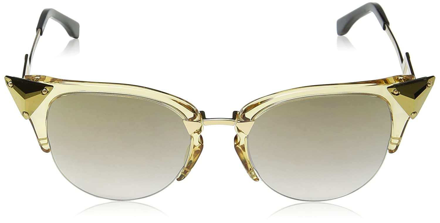 Fendi Damen Sonnenbrille FF 0041/S FQ 27L, Gelb (Yellow Gold/Grey Sf Gd Grey Speckled), 52