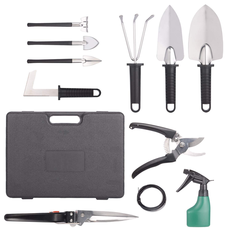 BNCHI Gardening Tools Set,Portable 12 Pieces Stainless Steel Garden Tool Sets,Gardening Gifts for Women,Men -(Black)