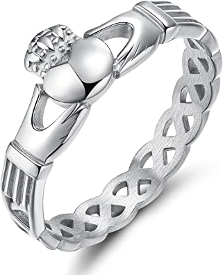 Irish Style Steel Hands Heart Crown Engage Wedding Band Ring Silver US 10