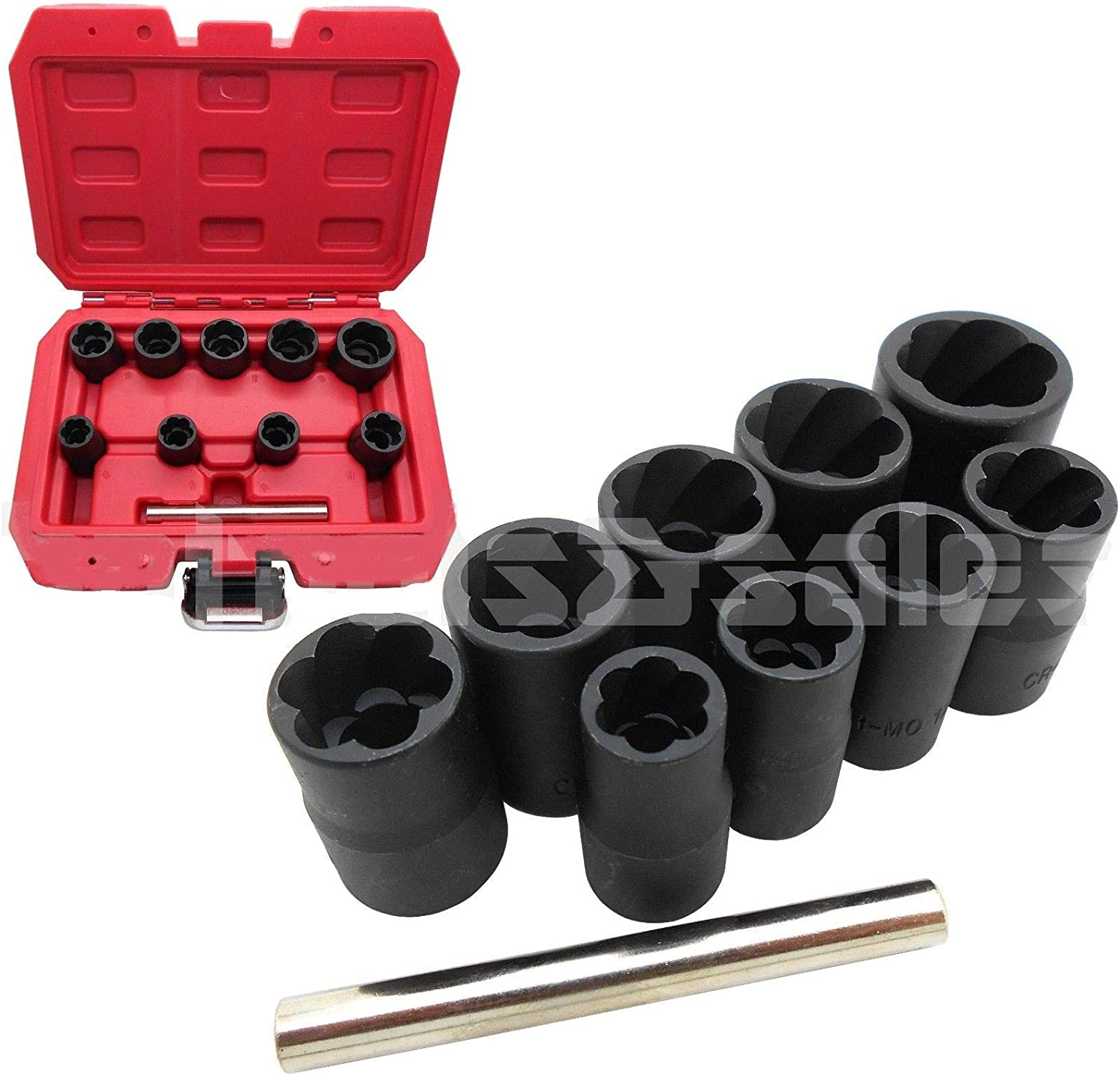 10Pc Grip N Twist Sockets Locking Wheel Nut Remover Damaged Rounded Bolts