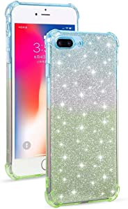 DESHENG Smartphone Protective Clips for iPhone 8 Plus / 7 Plus Gradient Glitter Powder Shockproof TPU Protective Case Phone Bag (Color : Blue Green)