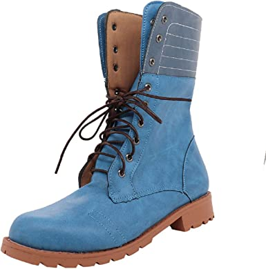 autumn shoes best shoes great quality Amazon.com: Tsmile Women Retro Combat Boots No Heel Lace Up Round ...