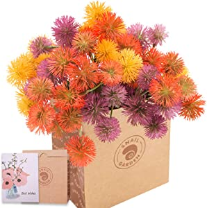 SNAIL GARDEN 36Heads Artificial Dandelion, 18Pcs Fake Mini Onion Flower Ball Bouquet with 1 Vase Kraft Paper Bag-Plastic Shrubs Brushes Plant for Indoor Outdoor(Red,Yellow,Purple)