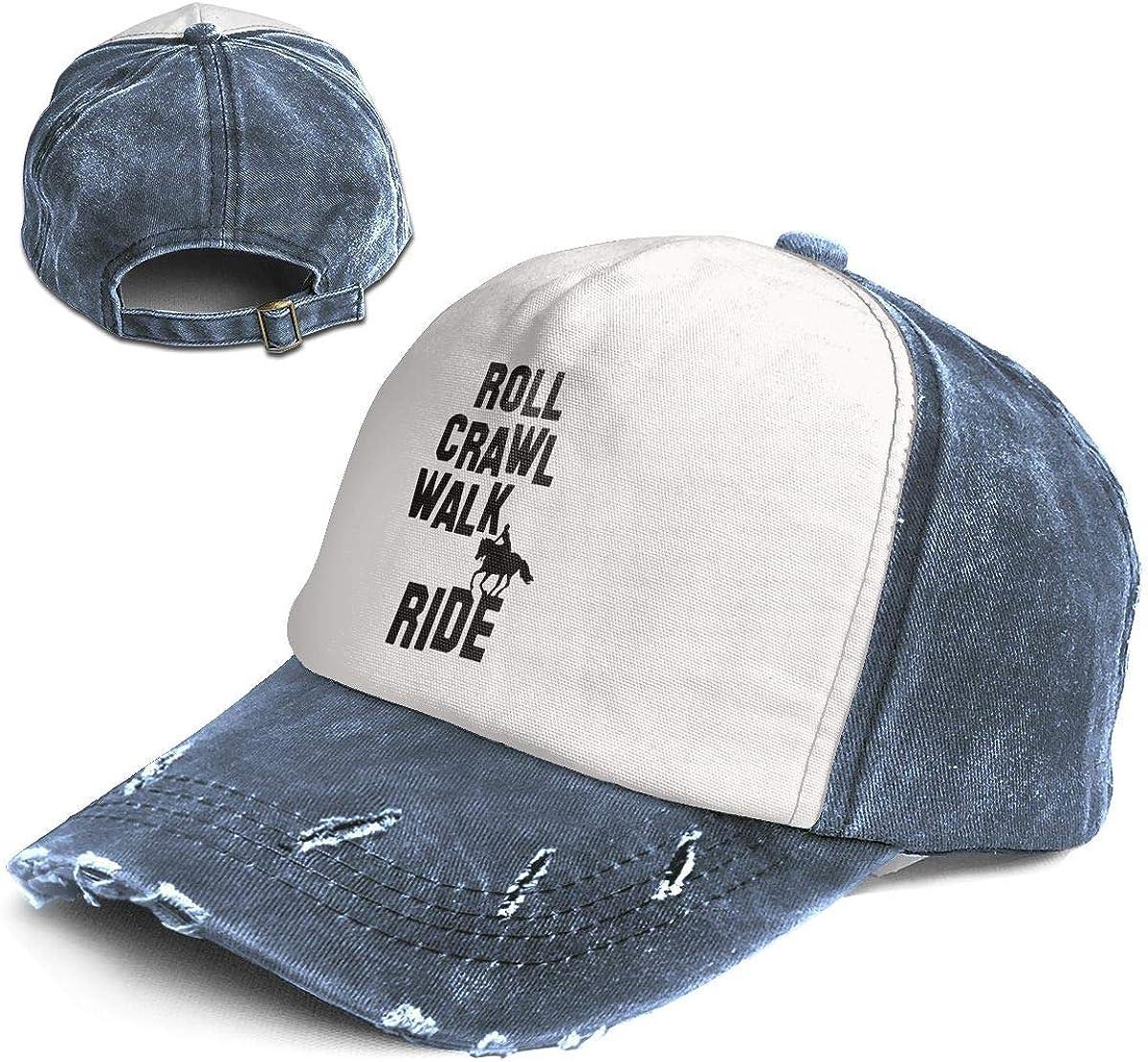Crawl Walk Ride Trend Printing Cowboy Hat Fashion Baseball Cap for Men and Women Black and White