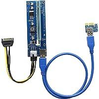 PCI-E Riser para minería, PCIE 1x a 16x Cable de extensión de tarjeta gráfica Adaptador de GPU USB 3.0 6-Pin PCIE a SATA…