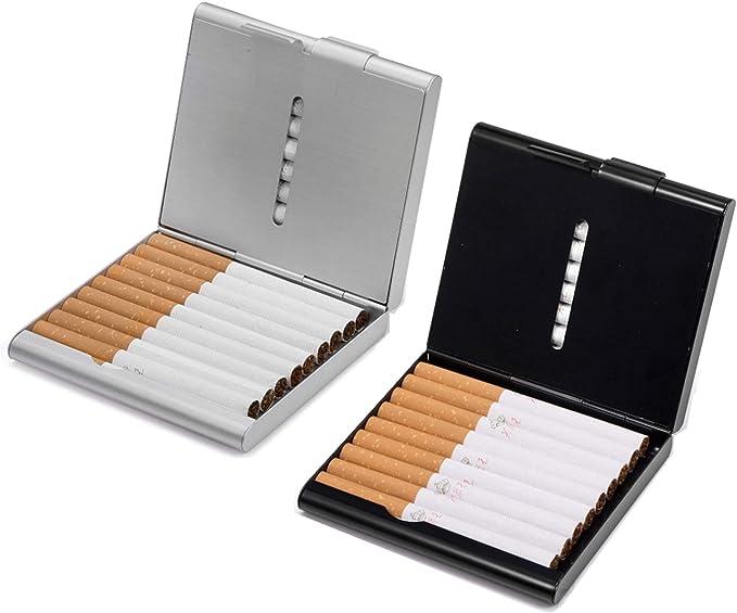 Aluminio con Tapa Deslizante Soporte pitillera Cigarrillos Tabaco Almacenamiento Tabaco Regalo Caja Resistente al Agua Cigarrillo Regalos para Hombre