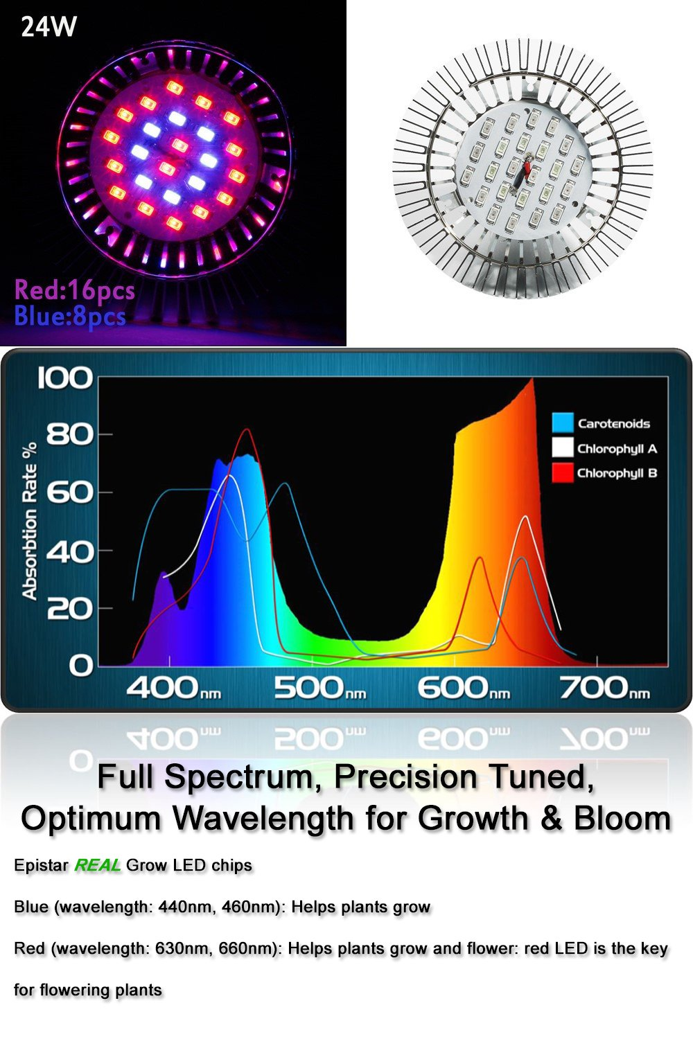 Newest 3rd Generation Growing LED Light Bulbs for Hydroponic Aquaponic ZOTRON LED Grow Light 24W Indoor Plants Greenhouse Herbs and Bonsai Trees