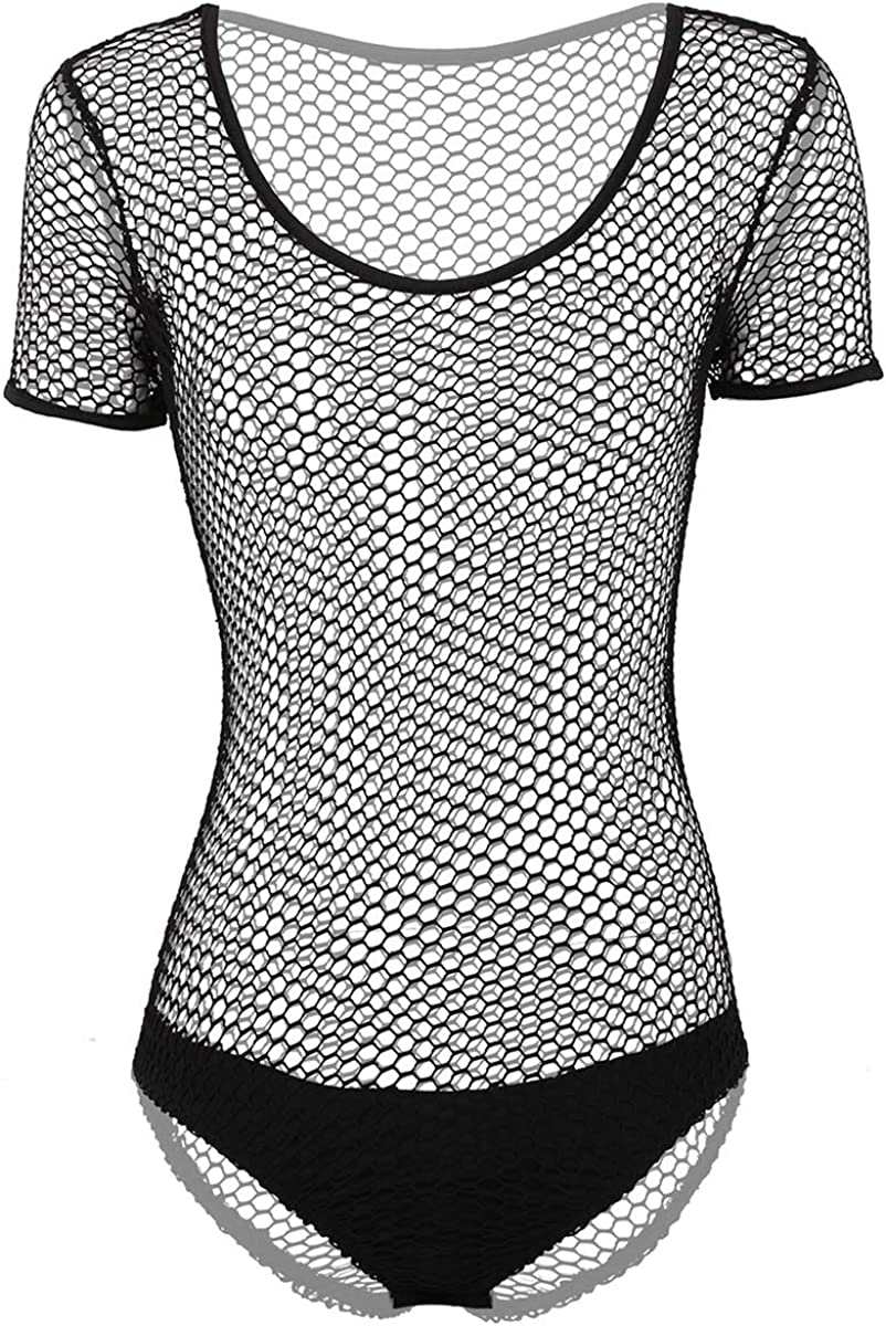 renvena Womens Grid Mesh Sleeveless Open Crotch Tank Thongs Leotard Bodysuit Rave Clubwear