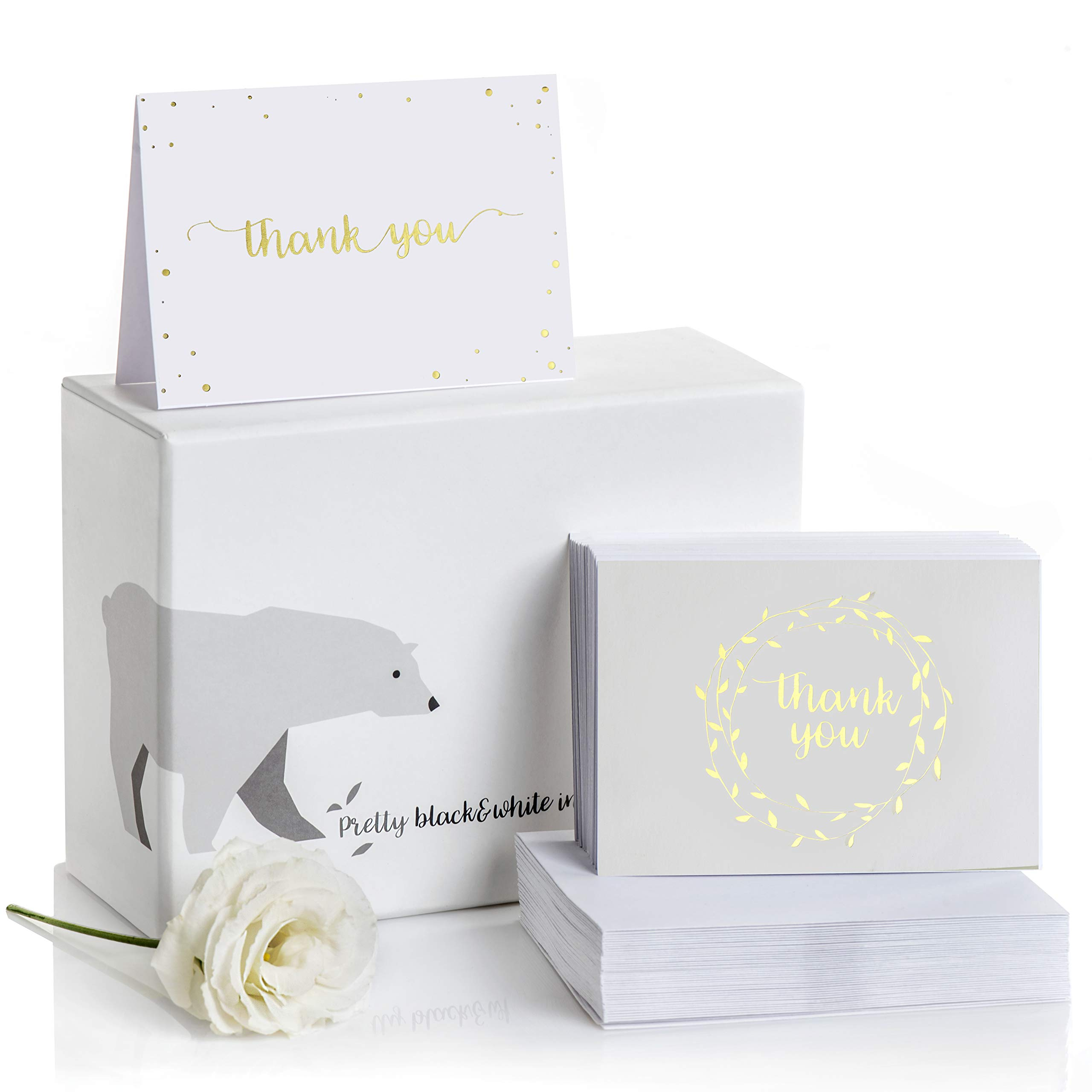 Thank You Cards-2 Designs of Blank Thank You Notes and Self-Seal Envelopes-Stationary Set to Give Thanks for Wedding, Bridal Shower, Professional, Any Occasion by Alice & Ben (Gold, 100-Pack)