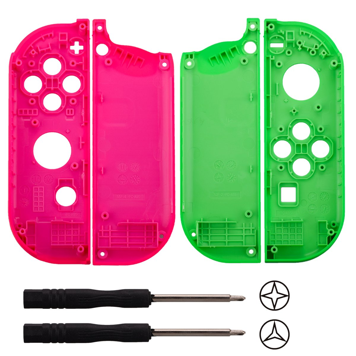YoRHa plastic replacement repair kit theme case shell for switch Joy-Con controller (pink+green) With Screwdriver