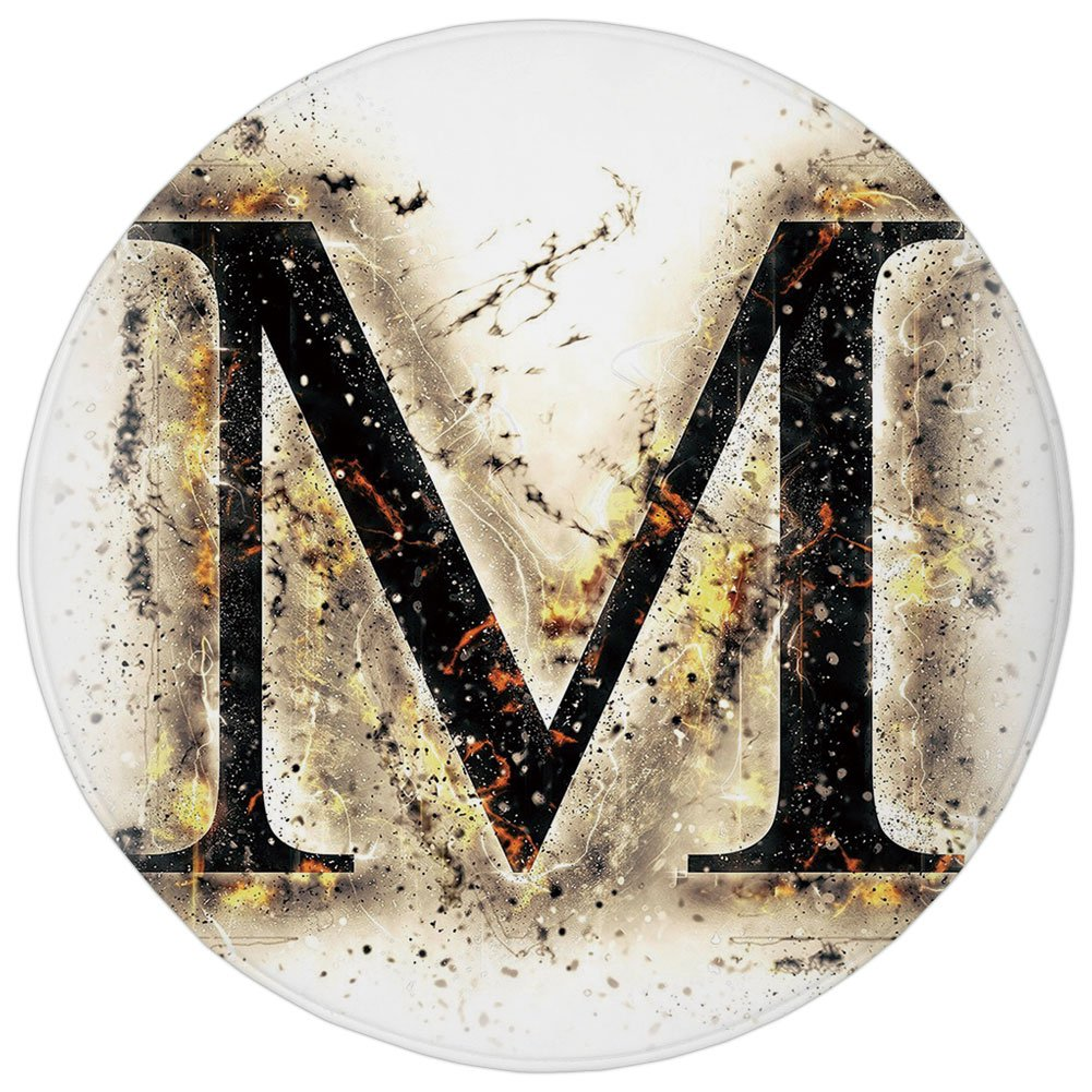 Round Rug Mat Carpet,Letter M,Language Writing School Themed Name Initials in Fire Background Steamy Print Decorative,Tan Black Orange,Flannel Microfiber Non-slip Soft Absorbent,for Kitchen Floor Bath