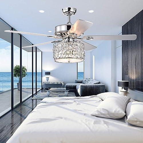 Wolland 52 Modern LED Crystal Ceiling Fan
