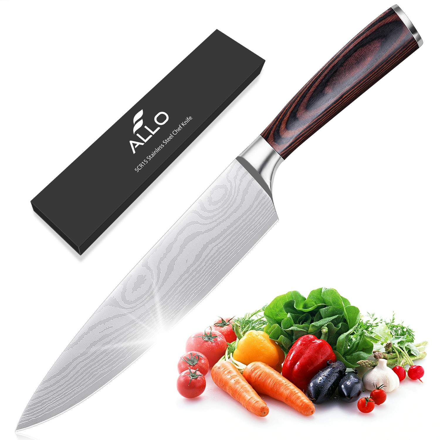 Allo Chef's Knife 8 Inch High Carbon Stainless Steel Sharp Kitchen Knife with Ergonomic Handle, Anti-rust, Durable, Professional for Home and Restaurant
