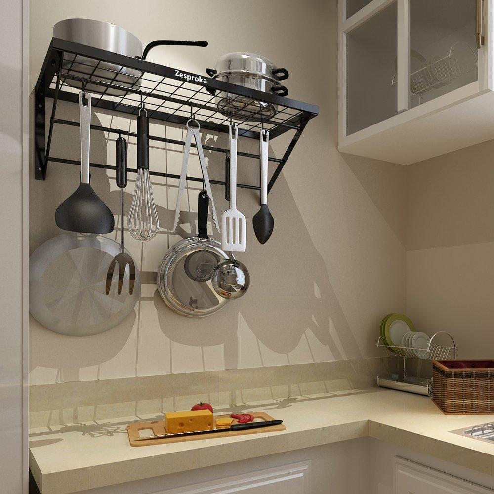 ZESPROKA Kitchen Wall Pot Pan Rack,With 10 Hooks,Black by ZESPROKA (Image #6)