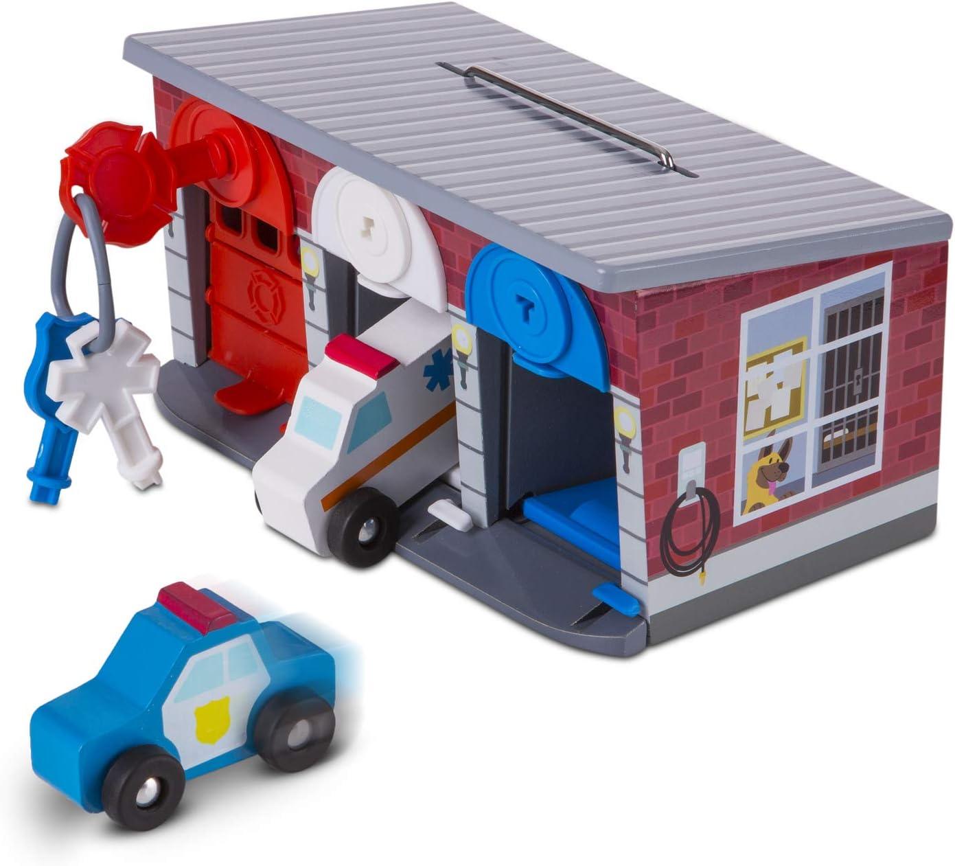 Melissa & Doug | Garaje de llaves y vehículos de rescate | Juguetes de madera y trenes | 3+ years