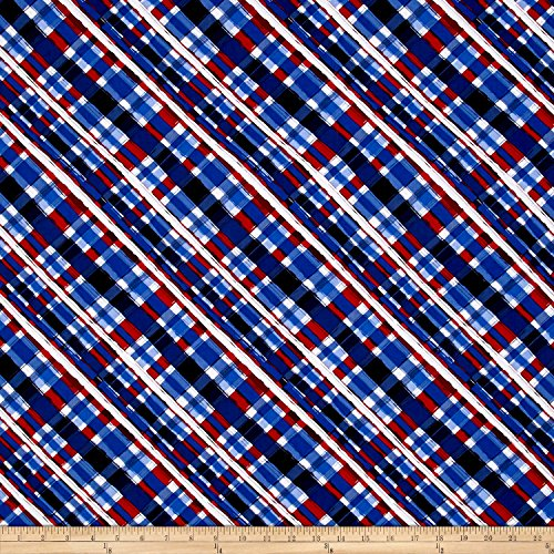 Fabri-Quilt American Pride Bias Plaid Red/White/Blue Fabric by The Yard ()