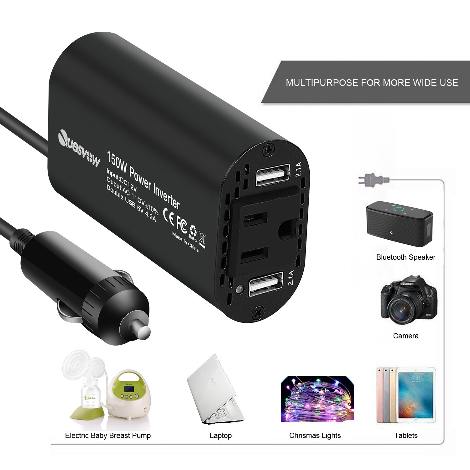 Quesvow 150W Car Power Inverter DC 12V to 110V AC Converter with 4.2A Dual USB Charger-Black by Quesvow (Image #3)
