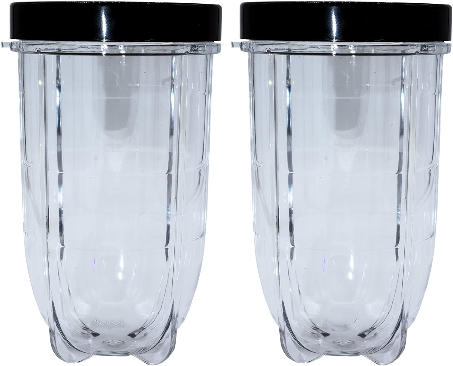 Blendin 2 Pack 16 Ounce Tall Cup with Black Jar Lid, Compatible with Original Magic Bullet Blender Juicer 250W MB1001