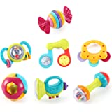 Music Party Fun 7 Piece Baby Rattle and Teether Toy Gift Set in Milk Bottle