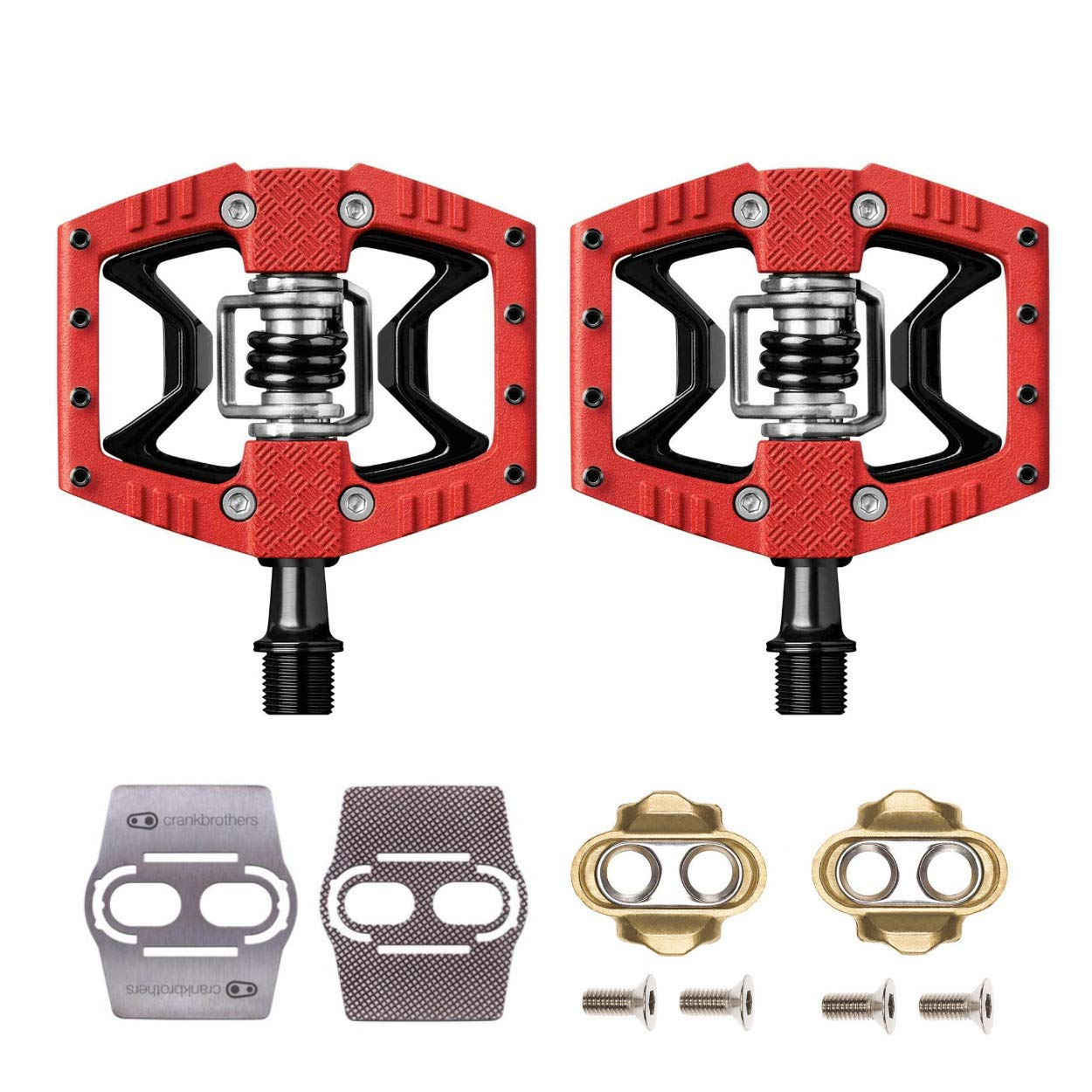 3d114c8483bc Amazon.com : Crankbrothers Double Shot 3 Bike Pedals Pair (Red/Black) with Premium  Cleats and Shoe Shields : Sports & Outdoors