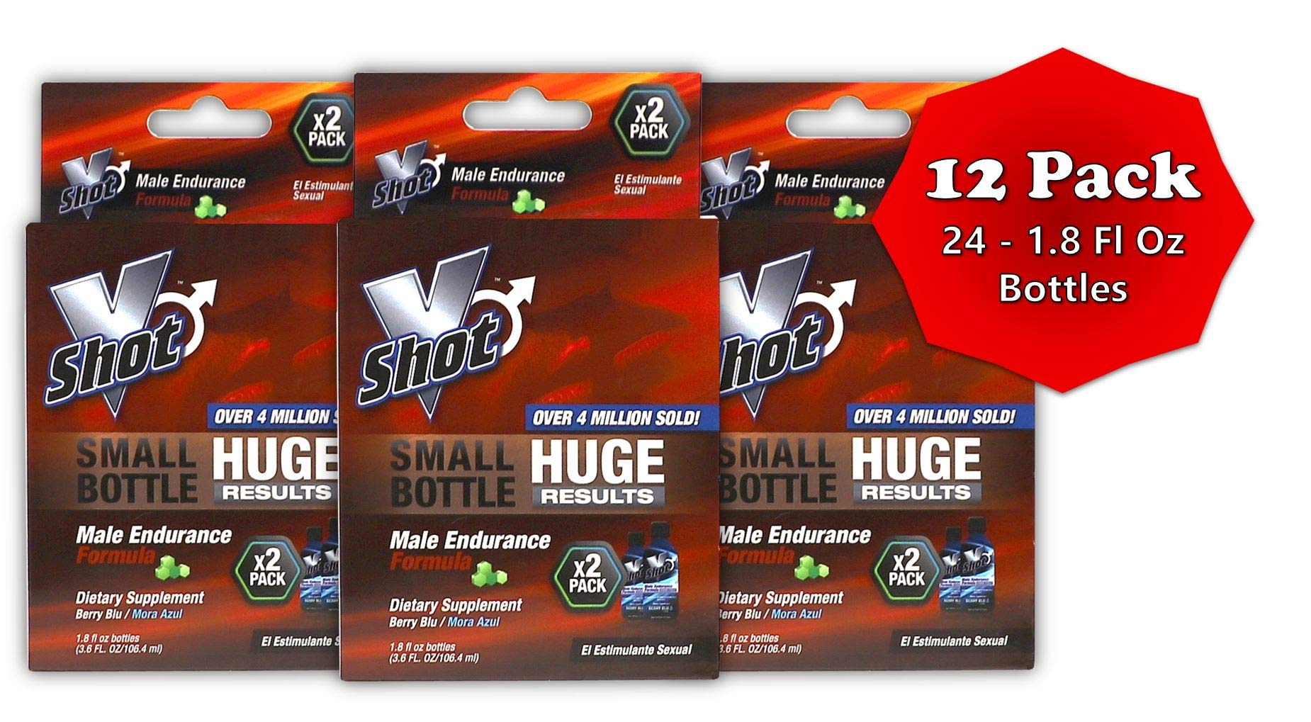 V Shot Male Endurance Formula | Increased Sexual Stamina Boosters for Fast Acting Rise in Vitality, Blood Flow, Vibrant Arousals, Longer Durations, and Sexually Enhanced Desires; (24) 1.8 Fo Bottles