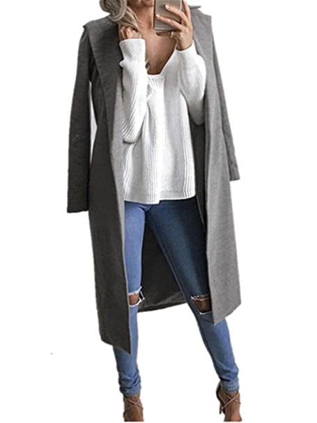 Longra Mujer Invierno Abrigo Mujer Elegante Pura Color Splice Cinturón Espesar Cálido Abrigo (S,