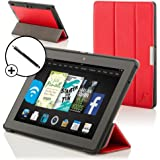 "Forefront Cases® Amazon Kindle Fire HDX 8.9"" (3rd Generation - November 2013) Smart Case Cover Stand – Extra Padded Rugged with full device protection and Smart Auto Sleep Wake function + STYLUS (RED)"